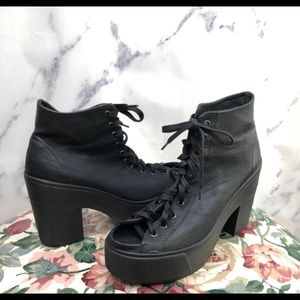 Top shop atom open tie lace up boot